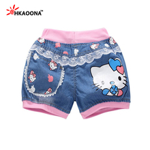 Kids Clothes Clearance Summer Denim Shorts For Girls  Pattern Pink Elastic Waist Lace Kids Shorts  Cotton