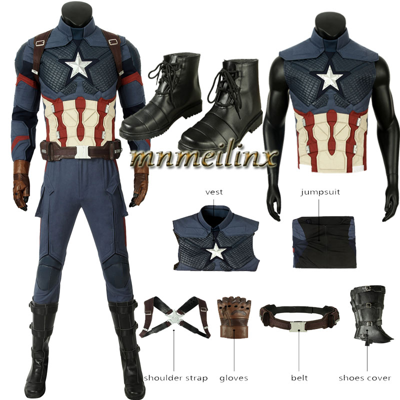New Movie Marvel's Steven Rogers Superhero Avengers 4 Captain America Cosplay Costume Halloween Suit Customize Shoes Type B