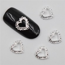 Beleshiny 50Pcs new  Silver hollow peach heart, 3D Metal Alloy Nail Art Decoration/Charms/Studs,Nails 3d Jewelry H067
