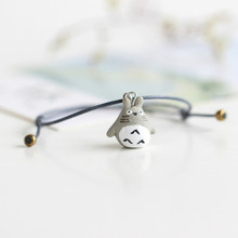 New 2017 Hand-Woven Ceramic Beads Bracelet Cute Cartoon Totoro Animal Originality Bracelets Bangle for Women Gifts(China)