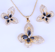 Love Monologue Top Quality Yellow Gold Color Pave Black Imitation Onyx Cubic Zirconia Unmatched  Butterfly Jewelry Sets H0231