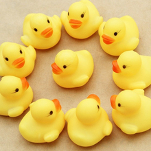 10pcs Rubber Duck Baby Squeaky Pool Float For Children Latex Yellow Duck Squeeze-sounding Dabbling Water Bath Bathtub Toy