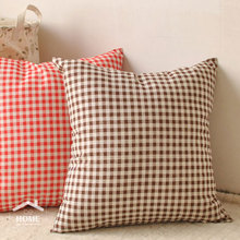 be Home High quality Japan Style Plaid  Cotton and Linen cushion cover pillow case Red and Coffee