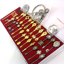 29pcs/set Fairy Tail Lucy Cosplay Key Keychain Scale & Free Pink Tattoo Heartfilia Sign of the Zodiac Gold Key Pendants(China)