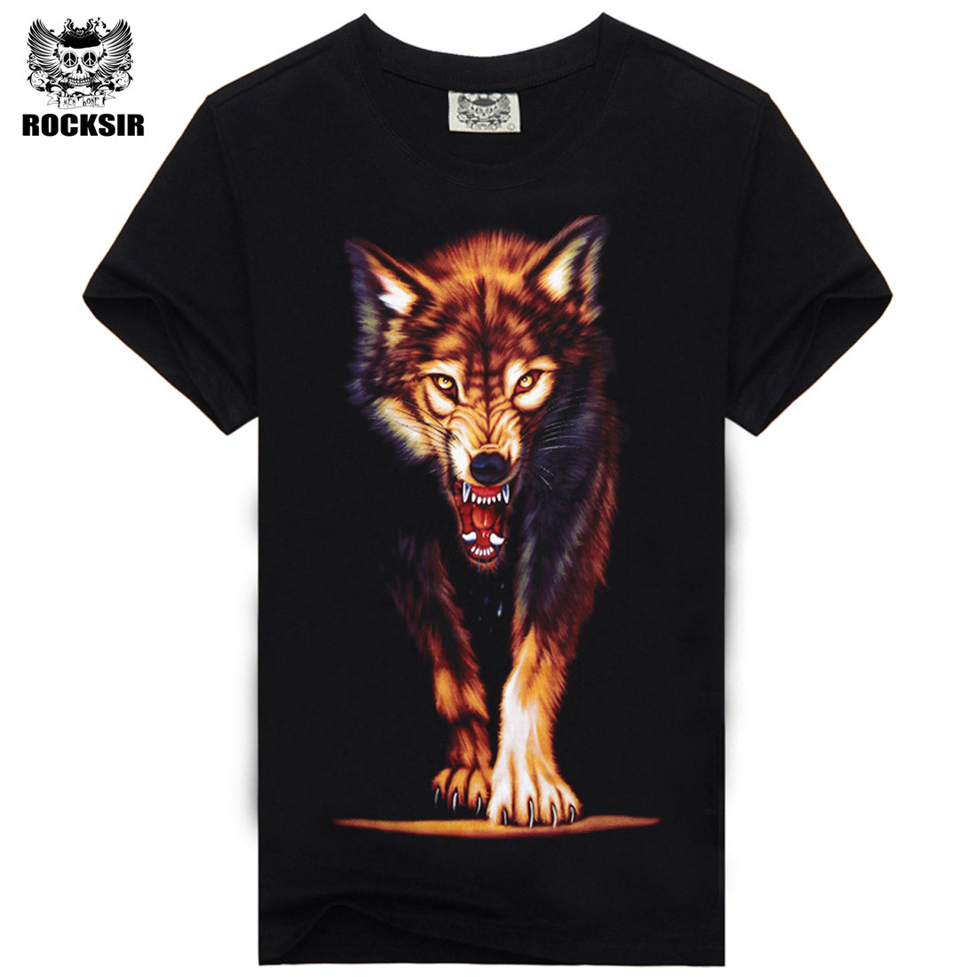 Rocksir 3d wolf t shirt mens Brand 3D Indians wolf Print t shirts Cotton wolves Men t-shirt Casual Man Tees Mens Tops 7