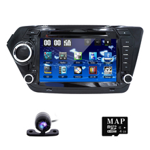 Free Rearview Camera ! Car DVD Player for KIA RIO K2 with Radio, GPS Navigation, TV, SWC, BT, USB/SD, Russian menu, Free 8GB Map