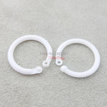 "50 Pcs / Lot 17.5mm 0.68"" Plastic Open Loose Leaf Hinge Snap Ring for Gate key Clip Ring Whtie(China)"