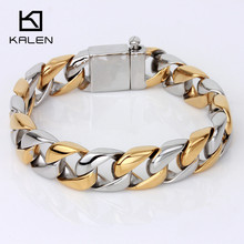 Kalen Men's 23cm Link Chain Bracelets High Quality Stainless Steel Egyptian Gold Color Bracelet Punk Jewelry From China Supplier(China)