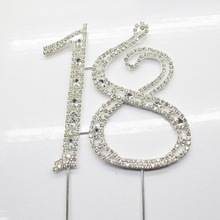 1pcs/Pack 18th Rhinestone Cake topper wholesale for Birthday Party Wedding Dectoration Cake Supplies Silver  Free Shipping