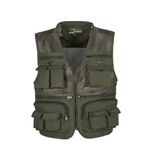 Outdoor Fishing Vests Quick Dry Breathable Multi Pocket Mesh Jackets Photography Hiking Vest Army green Vest