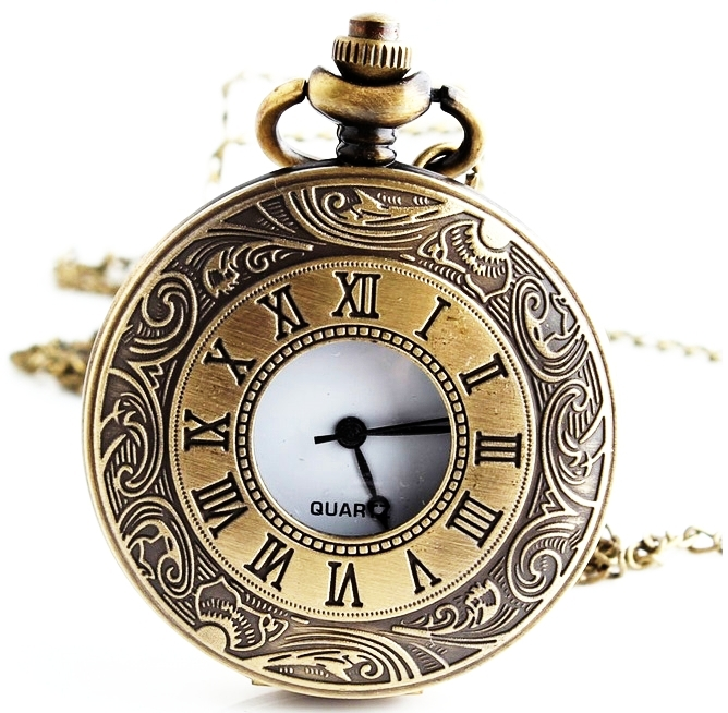 NEW Medium Size Bronze pocket watch roman number clock style Necklace old fashioned style woman  Gneva Style<br><br>Aliexpress