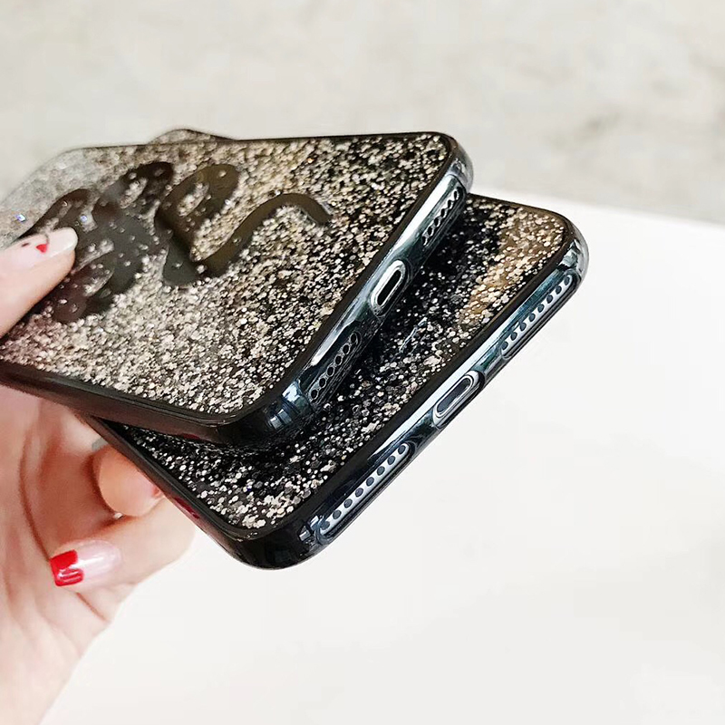 Fashion Snake Animal Brand Silicon Soft Case for iPhone 6 6S plus 7 7plus 8 8plus X 10 Phone Case Glitter Cover Coque Hull (7)