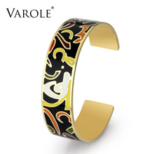 VAROLE Greetings Text Color Enamel Cuff Bracelets & Bangles For Women Charm Bangle Party Trendy Bracelet Jonc Jewelry Gift(China)