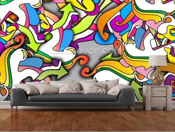 Custom papel DE parede infantil, Graffiti - Zany 3 d wallpaper for children room sitting room background wall PVC wallpaper <br>