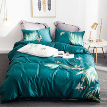 OLOEY Egyptian cottont embroidery Bedding Set plant flower King size High-grade Bed set Princess style Duvet Cover Bed Sheet(China)
