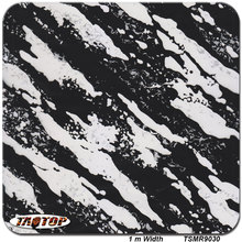 TSMR9030 1M * 10M black and white camo camouflage Popular Hydro Dipping  Water Transfer Printing Films Hydrographics Film