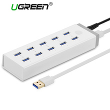 Ugreen 10 Ports USB 3.0 HUB High Speed USB Splitter with 12V 4A Power Charging Adapter for Computer Laptop Hubs Usb 10 Ports(China)