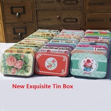 Flower Cake Tin Box Card Jewelry DIY Tinplate Storage Box Beautiful Square Jar Girls Gifts Mini Pill Case Collectables Box(China)