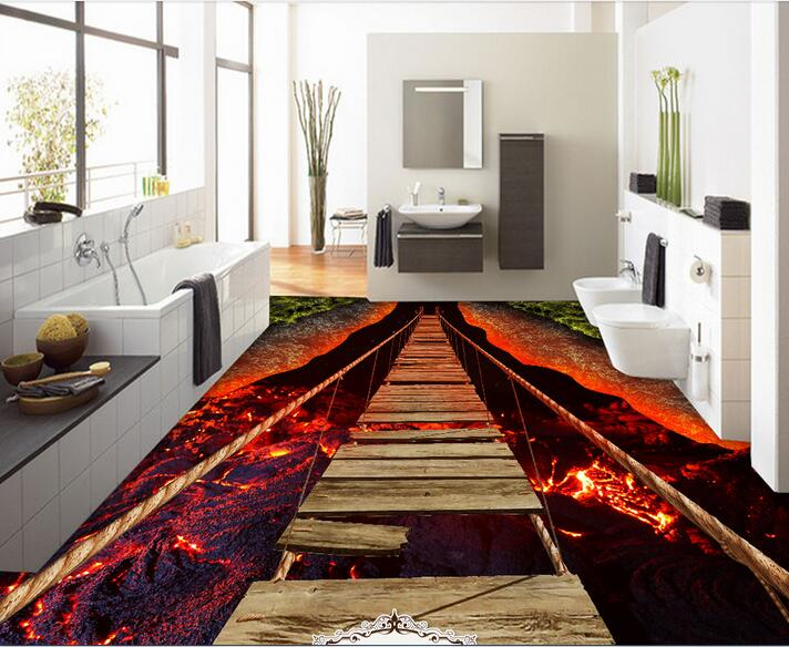 Custom photo 3d flooring mural self - adhesion wall sticker 3 d Breathtaking lava rope bridge painting 3d room murals wallpaper<br>