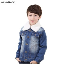 New Design Boys Winter Thick Warm Denim Jackets with Velvet Brand Boys Denim Coat with Pocket Boys Winter Washed Clothes, YC103