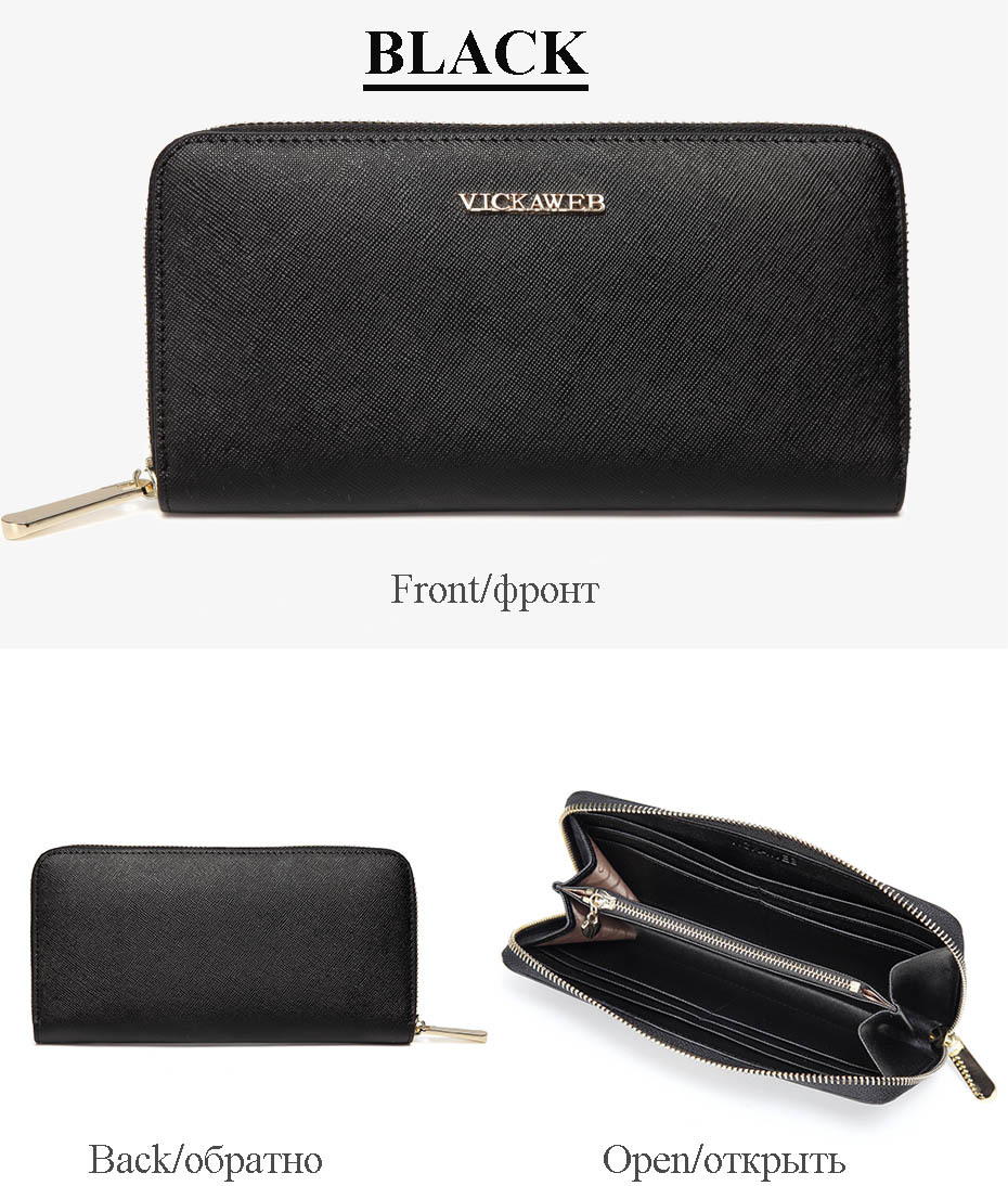 VICKAWEB Big Female Wallet Solid Women Wallets Genuine Leather Zipper Long Purses New Standard Wallets Fashion Ladies Purse 06-VICKAWEB06--019