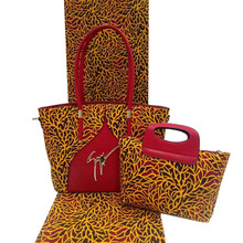 Hot Selling!African wax bag set!6 yards African printed fabric wax With fashion women handbags for african party b170619001(China)
