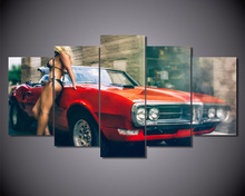 Wall Art Canvas Painting Red Sports Car And Beauty Poster Prints For Room Quadros Home Decor No Frame Artwork Pictures 5 Piece
