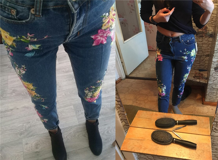 2018 Women's Three-dimensional 3D Heavy Bird Flower Embroidery High waist Slim Straight jeans Large yards (10)