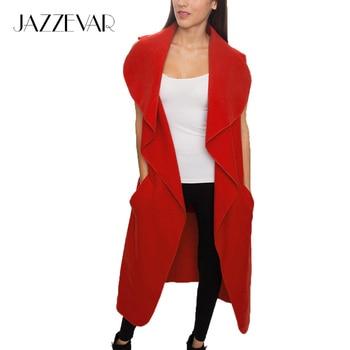 Chimenea Wasserfall de JAZZEVAR 2016 más nuevo del resorte de las mujeres mezcla de lana chaleco Casual gabardina larga ropa de Abrigo ropa suelta con cinturón