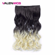 "Valen Wigs 22"" Ombre Wavy Wigs One Piece Clip in Hair Extensions 5 Clips Synthetic Hair Body Wavy Style Natural Color False Hair(China)"