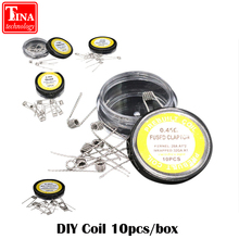 10pcs/lot Flat twisted wire Fused clapton coils Hive premade wrap wires Alien Mix twisted Quad Tiger Heating Resistance rda coil(China)