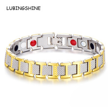 LUBINGSHINE Jewelry Magnetic Bracelet Bangle Mens Health Ion Germanium Care Bracelets Cuff Wrist Chain Wholesale B1330(China)