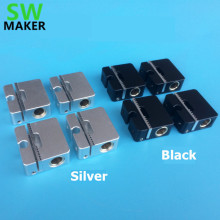 SWMAKER 4pcs Ultimaker 2 aluminum cross slider + synchronous belt buckle UM2 3D printer parts black/silver 8MM light shaft