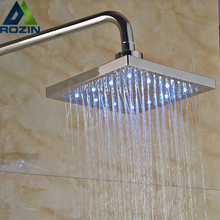 "Polished Chrome 8"" LED Light Shower Head Color Changing Bathroom Showerhead with Brass Shower Arm"