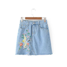 2017 Summer Stylish Lady Cranes Embroidery Jean Skirts All-Match Women Casual A-Line Bodycon Sexy Denim Skirt AH8759-0520