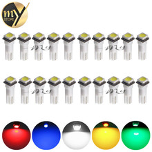 20pcs Car Interior Light LED T5 1 SMD 5050 Dashboard Wedge leds t5 Car Light Bulbs Lamp Red Blue Green Blue White auto 12V