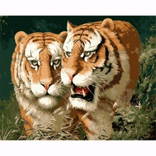 Diy oil painting by numbers canvas tiger picture adult coloring paint acrylic painting coloring by number wall decor HL008