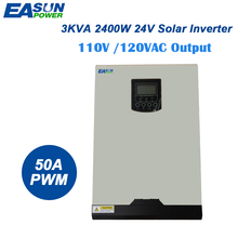 EASUN POWER Solar Inverter 110V PWM 3Kva 2400W Off Grid Inverter 24V 120V 50A PWM Pure Sine Wave Inverter 60A Battery Charger(China)