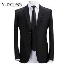 YUNCLOS 2019 de negocios Formal hombres traje de chaqueta de dos botones de  Color sólido boda Slim Fit Blazer de traje c9bec30e717