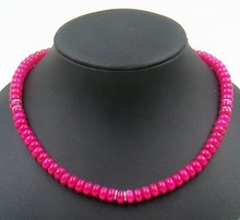 Natural Stone Jewelry Vintage Classic Dreamlike  Pink Rubies Beads Necklace for Women