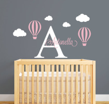 Personalized Name Wall Decal Hot Air Balloon Wall Stickers For Kids Room- Girls Name Wall Decal Customize DIY Wall Art JW028