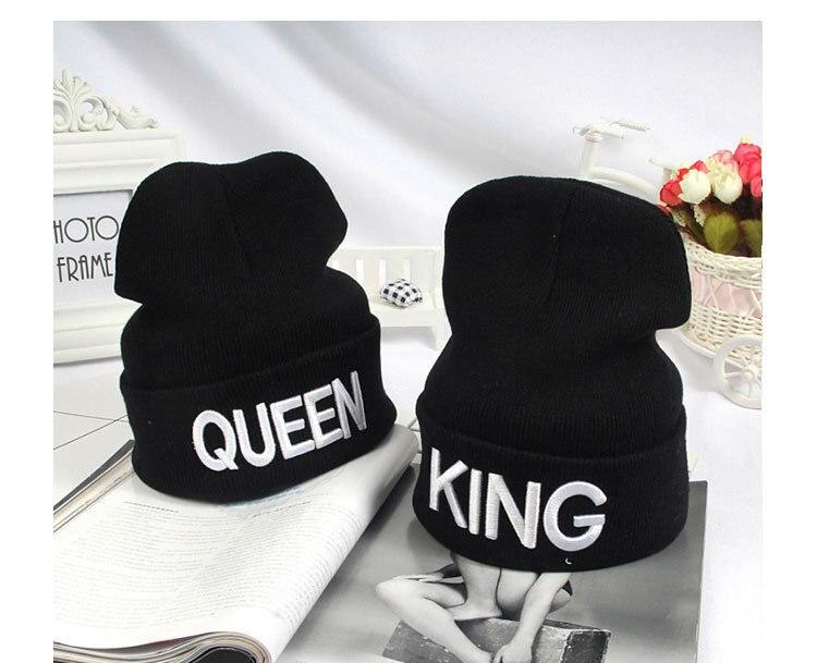 10pcs free shipping/2016-A1204 king queen letter weaving knitted cap winter warm  hat skullies beanies capÎäåæäà è àêñåññóàðû<br><br><br>Aliexpress