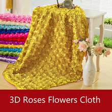 Wholesale 50*150cm 3d Roses Flowers Fabric Lace Craft Dresse Wedding Party Carpet Background Decoration Patchwork Sewing Telas