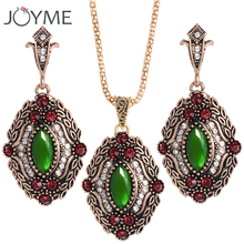 African Bridal Jewelry Sets Vintage Cheap Fashion Green Eye Crystal Gold-Color Ethnic Jewelry Earrings Necklaces Set(China)