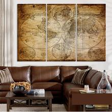 3 Pieces/set Ancient Decorative Painting Mural World Map Abstract Painting  Picture Paint On Canvas Prints Home Decor Unframed