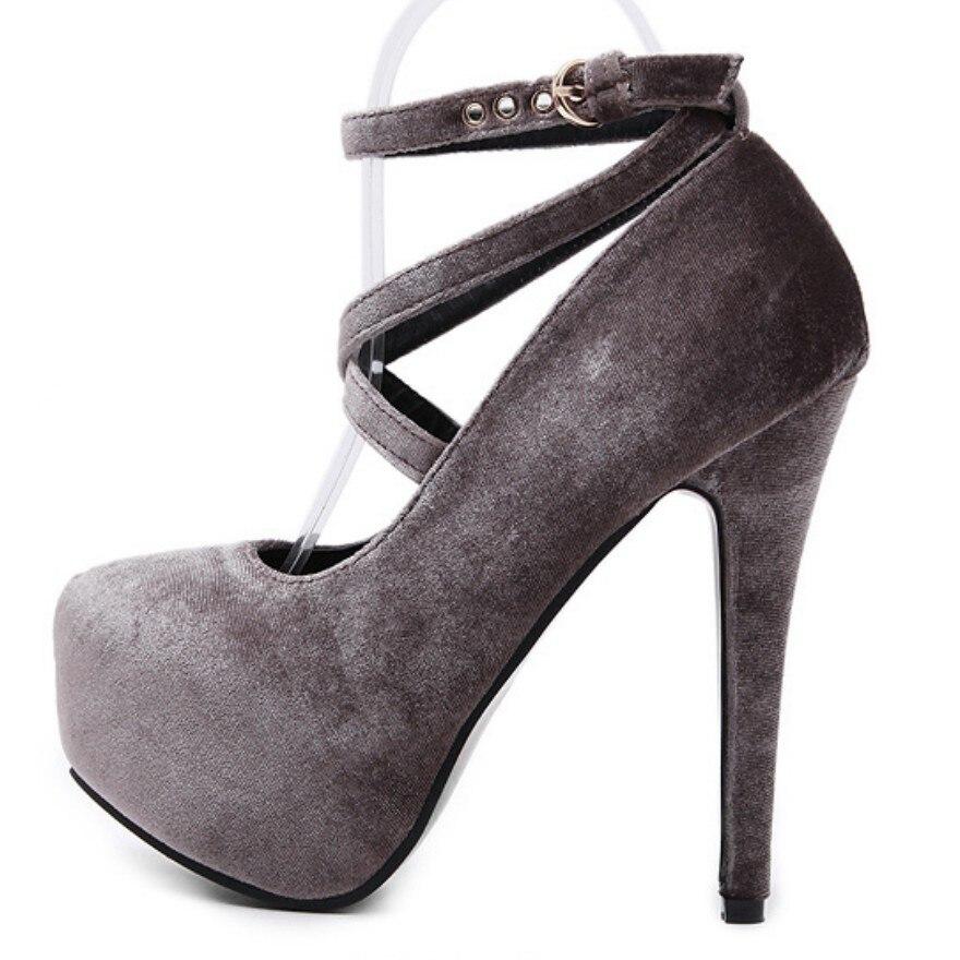 Plus Size 40-42 Spring Fall Women Sexy High Heel Stiletto Velvet Pumps Cross Strap Platform Ultra High Heel Fetish Shoes Wedding<br><br>Aliexpress