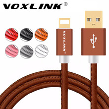 Original usb charger cable for iPhone 7 Plus VOXLINK PU Leather Sync Data Charging USB Cable for iPhone 6s Plus 5s iPad Air Mini