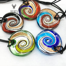 2016 Maxi Necklace Pendant Necklace Selling Real Colares Femininos Fashion 5pcs Mix 5 Colors Round Foil Murano Lampwork Glass(China)