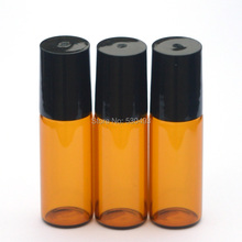 3pcs 5ml Amber Roll Glass Bottle Empty Fragrance Perfume Essential Oil Bottle 5ml Roll-On Bottle With Black Plastic Cap