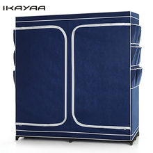 iKayaa US UK FR Stock Double Zipped Up Closet Wardrobe Cabinet Large Clothes Storage Organizer Garment Clothing Hanger Rack(China)